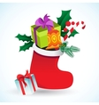 Christmas background with sock and gifts vector image vector image