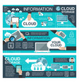 cloud data storage and information technology vector image vector image