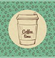 Coffee time banner roasted beans background hand