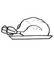 Cooked turkey cartoon vector image