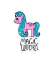 Cute cartoon beautiful magic pony princess vector image