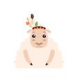 cute lamb animal wearing indian traditional tribal vector image vector image