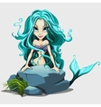 Cute mermaid with long blue hair behind a rock vector image vector image