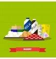 Dairy food products in flat vector image