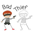 doodle bad thief character vector image