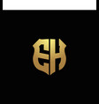 eh logo monogram with gold colors and shield vector image vector image