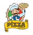 emblem of funny italian chef with pizza and logo vector image