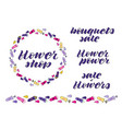 flower hand lettering and flower wreath and border vector image vector image