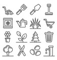 gardening icons set on white background line vector image vector image