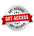 get access 3d silver badge with red ribbon vector image vector image