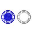 grunge vote democrat textured stamps vector image vector image