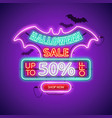halloween sale neon sign vector image vector image