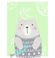 hand drawn funny cute bear vector image vector image