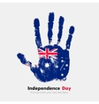 Handprint with the Australian flag in grunge style vector image vector image