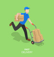 happy courier flat isometric concept vector image vector image
