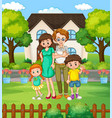 happy family at front yard vector image vector image