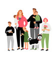 happy family parents with children and pets vector image vector image