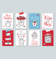happy valentines day doodle set banners vector image vector image
