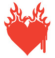 icon red heart on fire with ink drips vector image