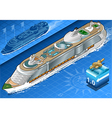 Isometric Cruise Ship in Navigation in Front View vector image
