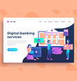 landing page template digital banking services vector image