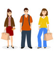 man and two women with bags and backpack vector image vector image