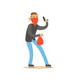masked robber holding a gun and carrying an orange vector image vector image