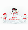 merry christmas background with snowman family vector image vector image