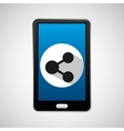 mobile phone app sharing icon vector image vector image