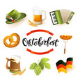 oktoberfest icon set with hat accordion sausage vector image vector image