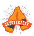 oktoberfest label with beer bottles icon vector image vector image