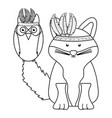 owl bird and fox with feathers hats bohemian style vector image vector image