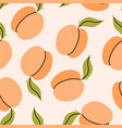 peach plum or apricot fruit with leaf seamless vector image