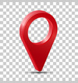 Realistic 3d pointer map red map marker icon