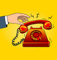 red hot old phone pop art vector image vector image