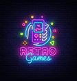 retro games logo retro geek gaming gamepad vector image vector image