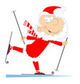 santa claus a skier isolated vector image