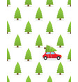 seamless pattern with car and christmas tree on vector image vector image