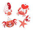 set in love with red crabs vector image vector image