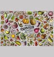 set vegan food theme items objects vector image vector image