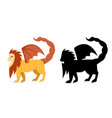 side view manticore in flat and silhouette vector image