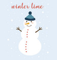 winter card with cute snowman vector image vector image