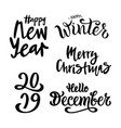winter set on white background vector image