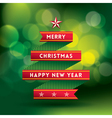 Christmas Background with tree shape ribbon vector image