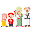 a happy family are celebrating ied mubarak vector image vector image