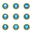 air balloon ride icons set flat style vector image vector image