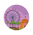 amusement park at night vector image vector image