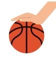 basketball ball and hand icon vector image vector image