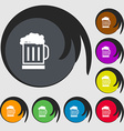 Beer glass icon sign Symbols on eight colored vector image vector image