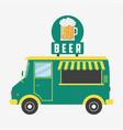 beer truck pub van with glass of beer and foam vector image
